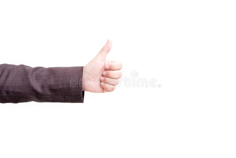 Thumbs up hand sign on white isolated background. Cheerful and success of business concept. Finger of people hand. Agree, agreement, approve, arm, caucasian royalty free stock image