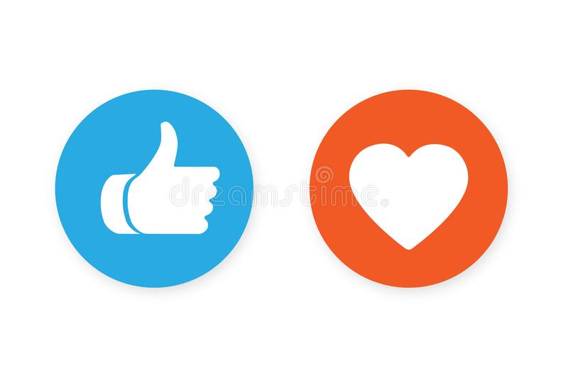 Thumbs up and heart icon. On a white background, social media icon vector illustration