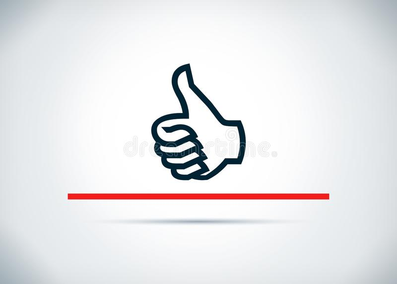 Thumbs up icon abstract flat background design illustration. Thumbs up icon isolated on abstract flat background design illustration stock illustration