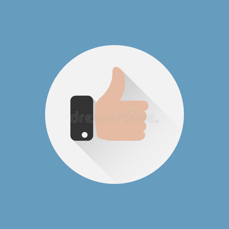 Thumbs up icon. Like icon, flat design royalty free illustration