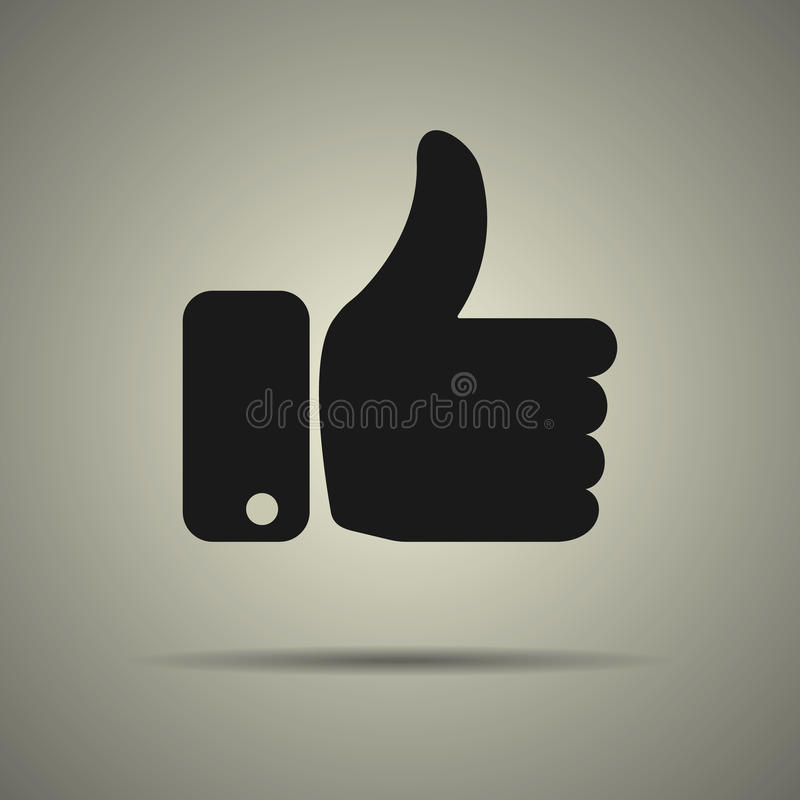 Thumbs up icon. Like icon, flat style, black and white colors, web icon vector illustration