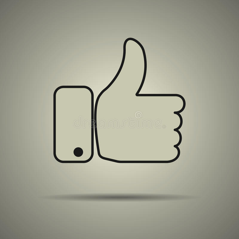 Thumbs up icon. Like icon, flat style, black and white colors, web icon stock illustration