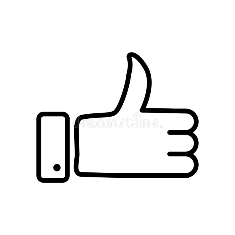 Thumbs up icon vector isolated on white background, Thumbs up sign , line or linear sign, element design in outline style stock illustration