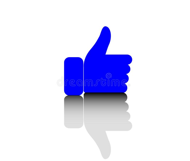 `Thumbs up icon, vector, reflection, shadow.Symbols like or excellent.Button icon thumbs up vector.` royalty free illustration