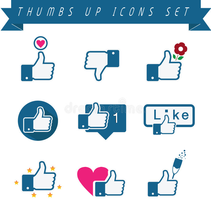 Thumbs up Icons Set vector illustration