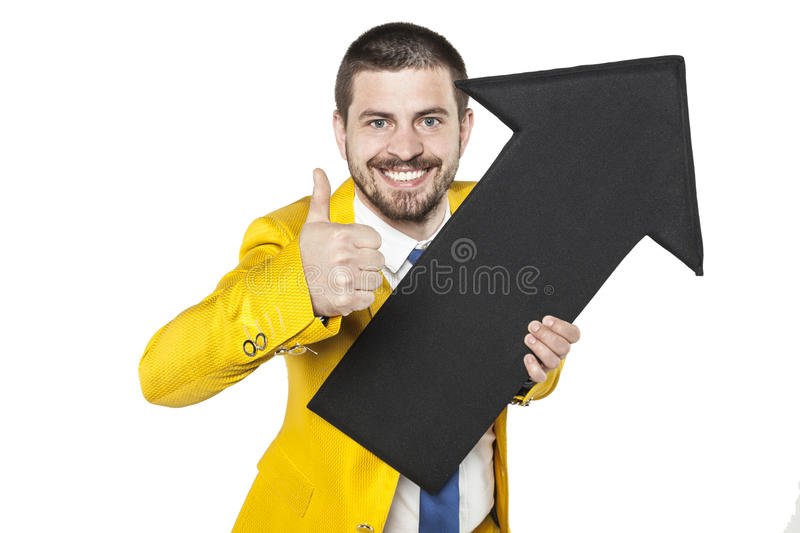 Thumbs up for income growth. Business man royalty free stock image