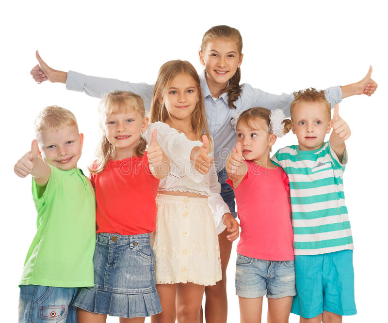 Thumbs up kids stock photography