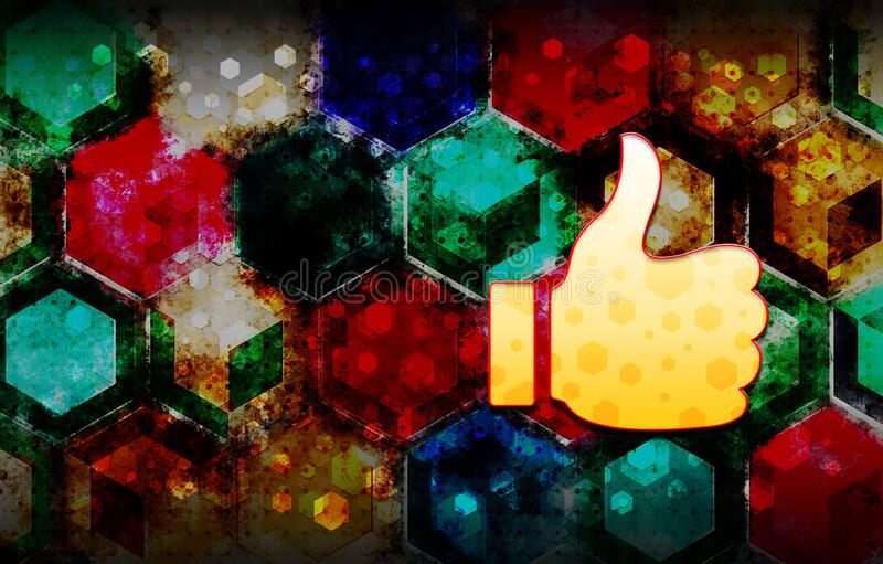 Thumbs up like icon abstract 3d colorful hexagon isometric design illustration background. Thumbs up like icon isolated on abstract 3d colorful hexagon isometric vector illustration