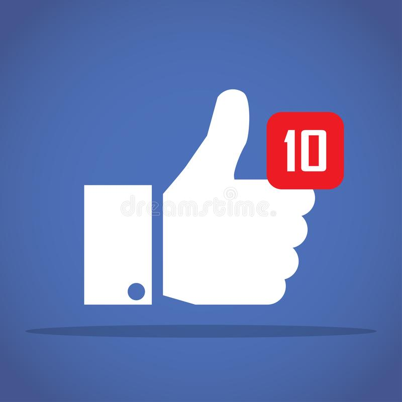 Thumbs up like social network icon with new appreciation number symbol. Idea - blogging and online messaging, social networking se. Thumbs up like social network royalty free illustration