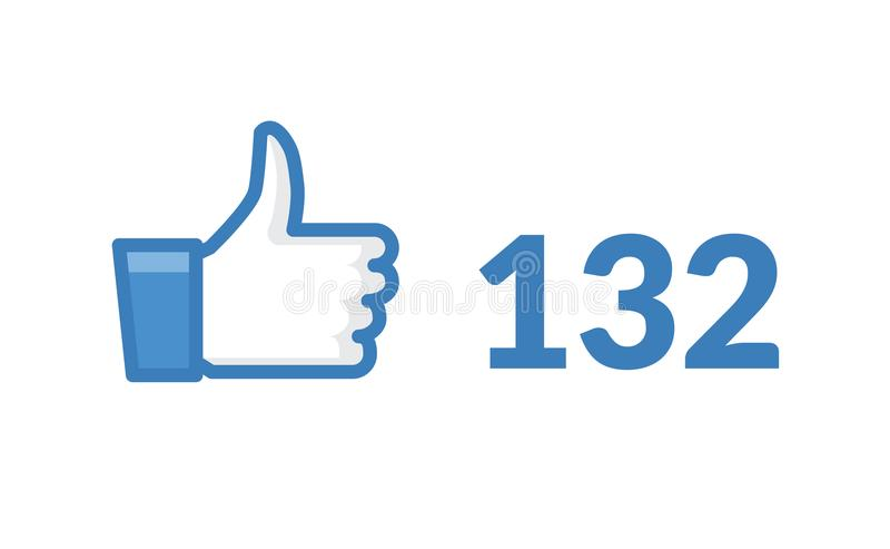 Thumbs up like social network icon. New likes number appreciation online. Web blogging concept.  royalty free illustration