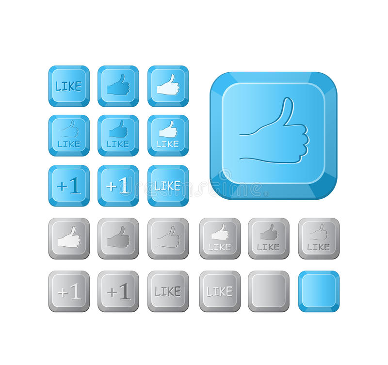 Thumbs Up And Like Symbol On Keyboard Stock Illustration