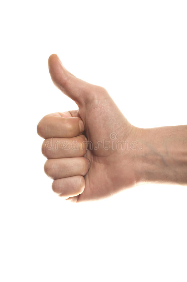 Free Thumbs Up Man S Hand Isolated On White Stock Photography - 14481152
