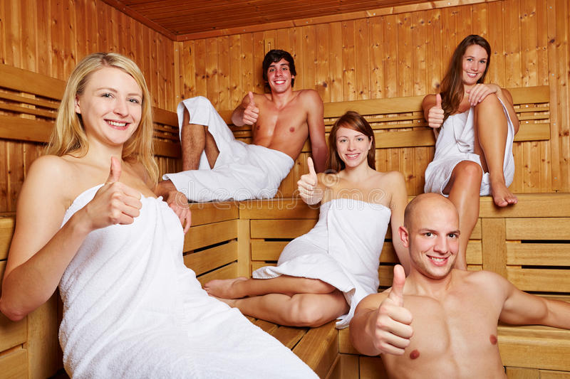 Download Thumbs up in a mixed sauna stock photo. Image of leisure - 27865494