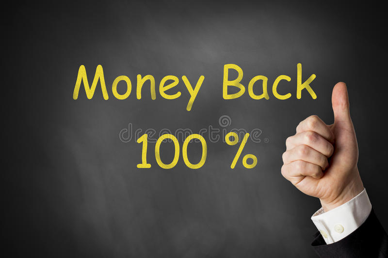 Thumbs up money back one hundred percent stock photos