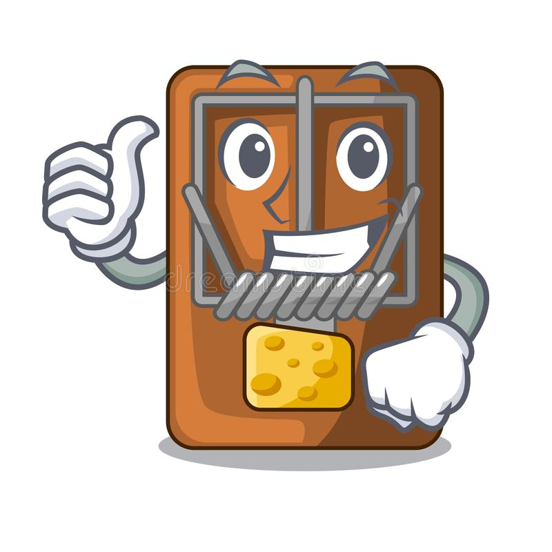 Thumbs up mousetrap in the shape mascot wood. Vector illustration stock illustration