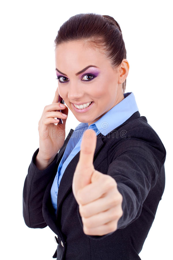 Thumbs up on the phone royalty free stock image