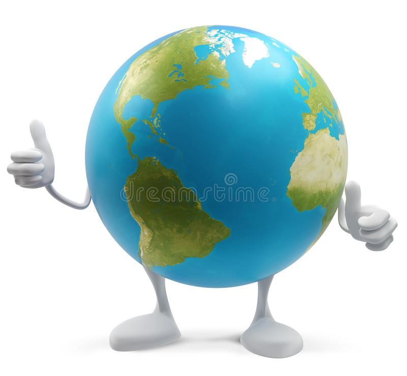Thumbs up planet earth globe isolated 3d-illustration. elements of this image furnished by NASA royalty free illustration