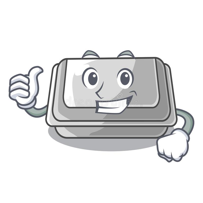 Thumbs up plastic box in the mascot shape. Vector illustration stock illustration