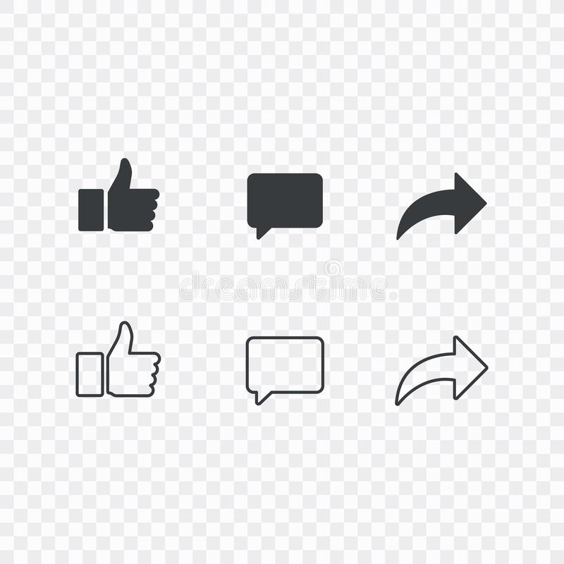Thumbs up and with repost and comment icons on a white background. Social media icon, empathetic emoji reactions icon stock illustration