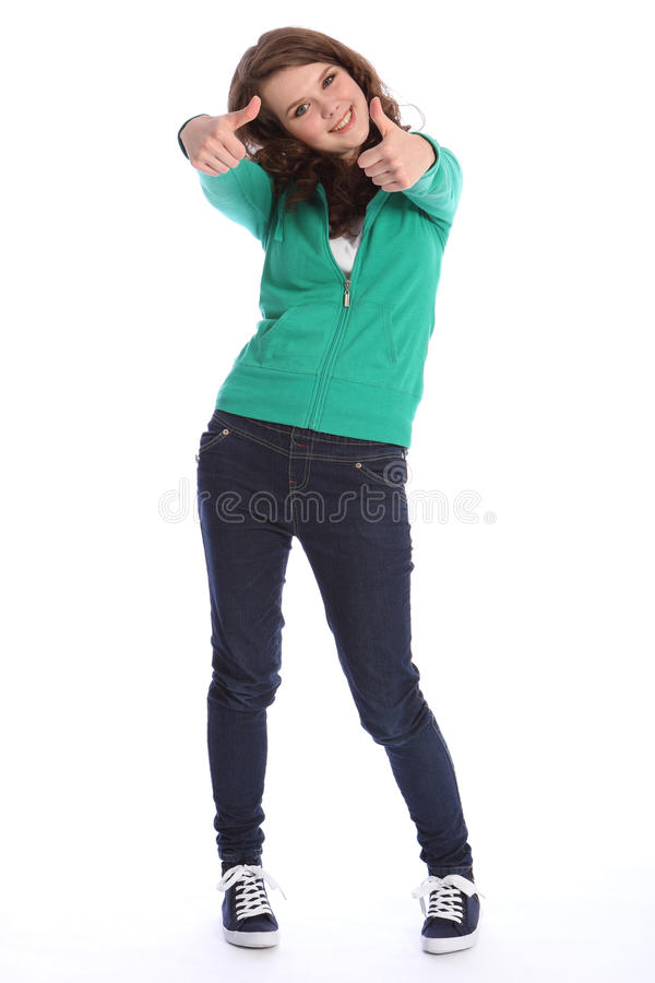Thumbs up success from high school teenager girl royalty free stock image
