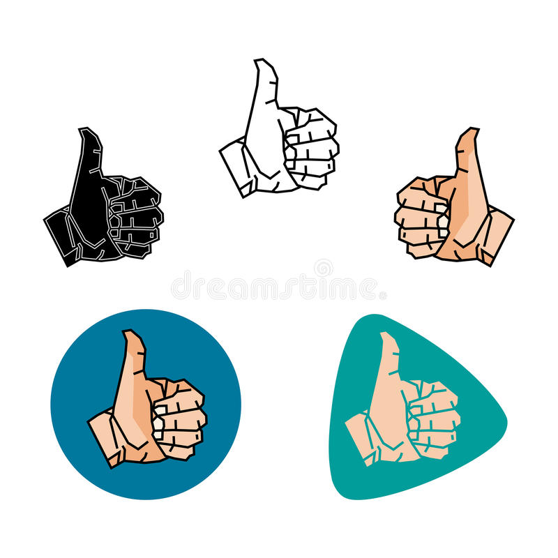Thumbs up. Thumb up as like as well vector illustration