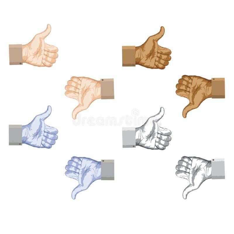 Thumbs up thumbs down stock illustration