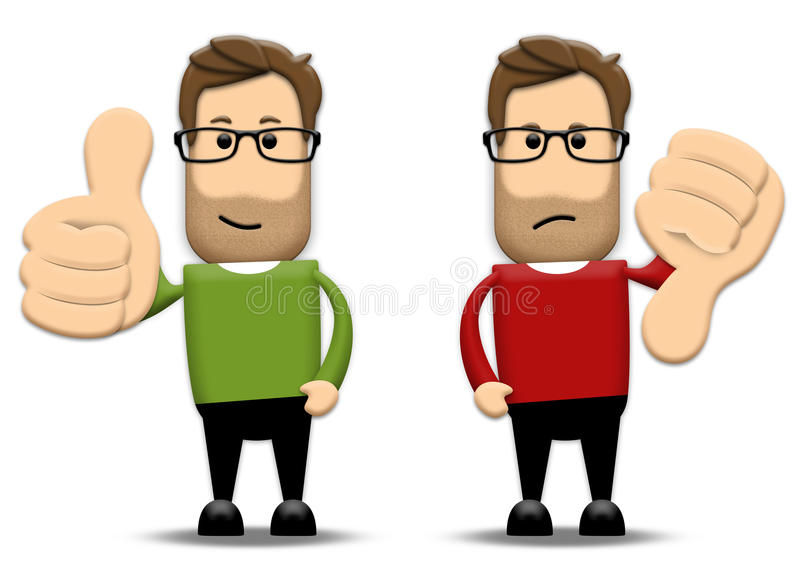 Thumbs up, thumbs down vector illustration