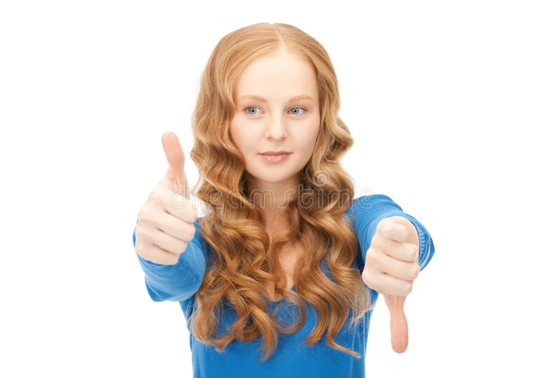 Thumbs up and thumbs down royalty free stock images
