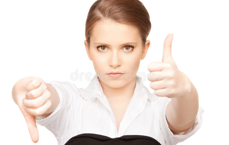 Thumbs up and thumbs down royalty free stock image