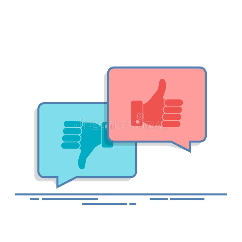 Thumbs up and Thumbs down symbol in speech bubbles. Social network, social media concept for websites, web banner. Long royalty free illustration