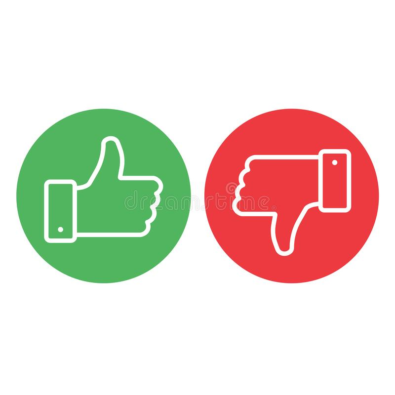 Thumbs up thumbs down. Red and green isolated vector like social media signs.stock vector illustration isolated on white background.10 eps stock illustration
