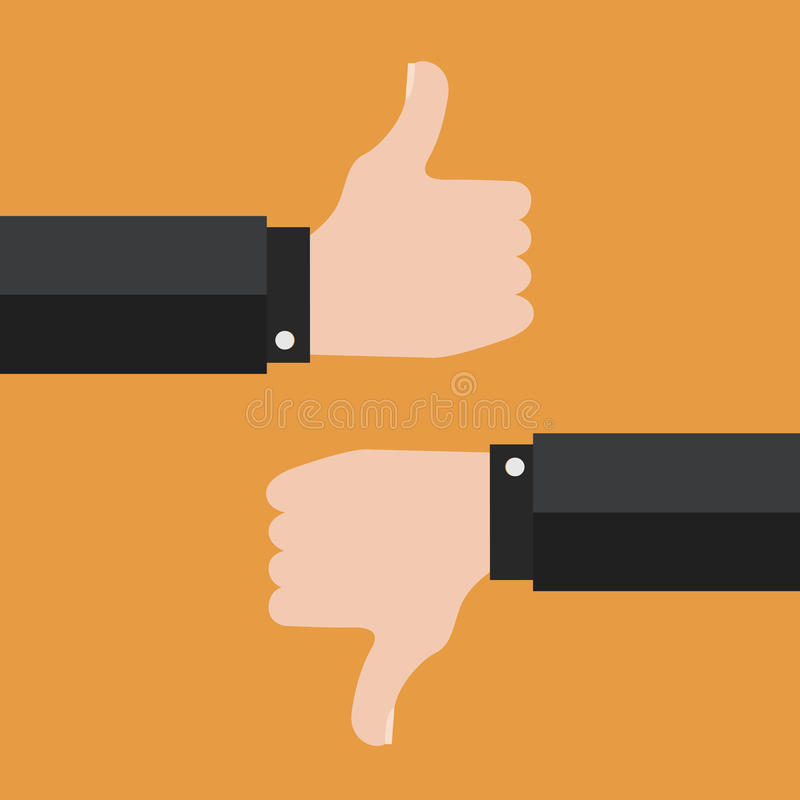 Thumbs Up and Thumbs Down vector illustration