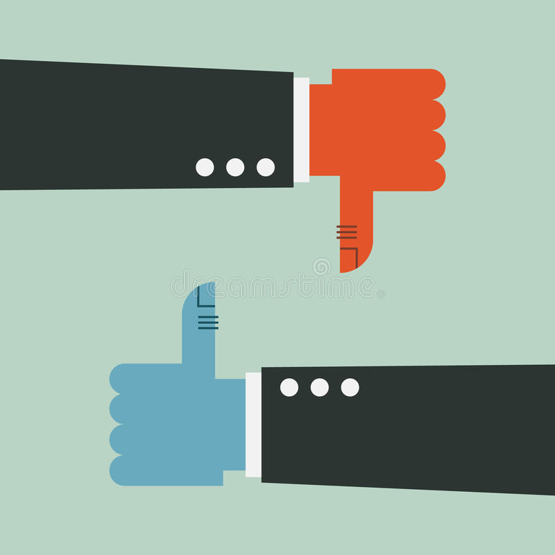 Thumbs Up and Thumbs Down royalty free illustration
