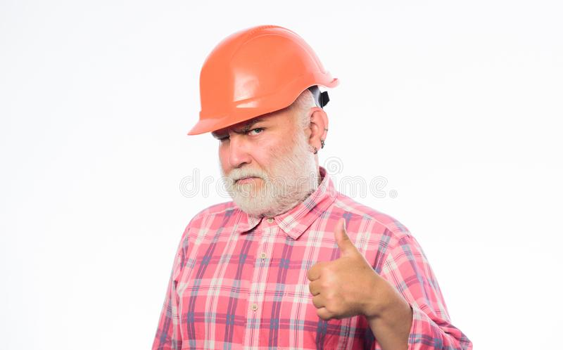 Thumbs up to success. man builder isolated on white. professional skills. build and construction. professional repairman stock photos