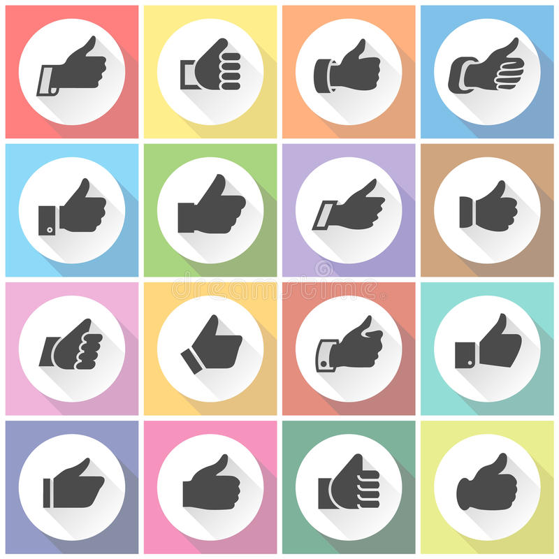 Thumbs up, white round buttons royalty free illustration