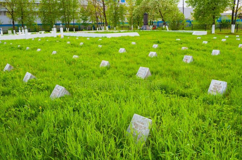 Thumbstones van de herdenkings militaire begraafplaats van Kolmovo Veliky Novgorod, Rusland royalty-vrije stock afbeeldingen