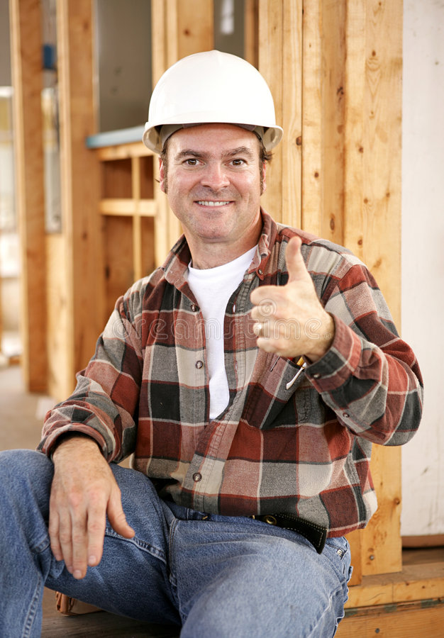 Thumbsup on Construction Site royalty free stock image