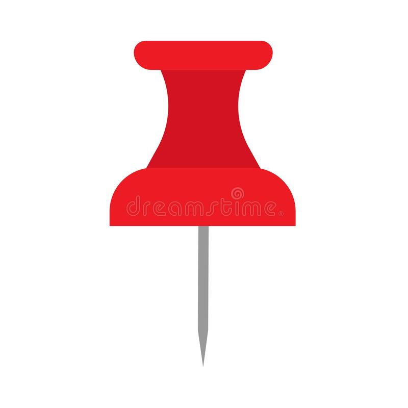 Thumbtack red symbol flat equipment agenda organizer. Vector push pin paper royalty free illustration