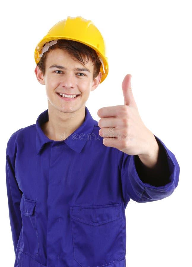 Thumsb herauf Arbeitskraft mit einem harten Hut lizenzfreie stockbilder