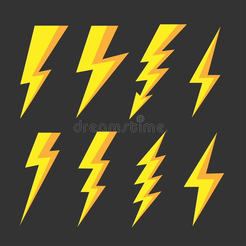 Thunder and Bolt Lighting Flash Icons Set royalty free illustration