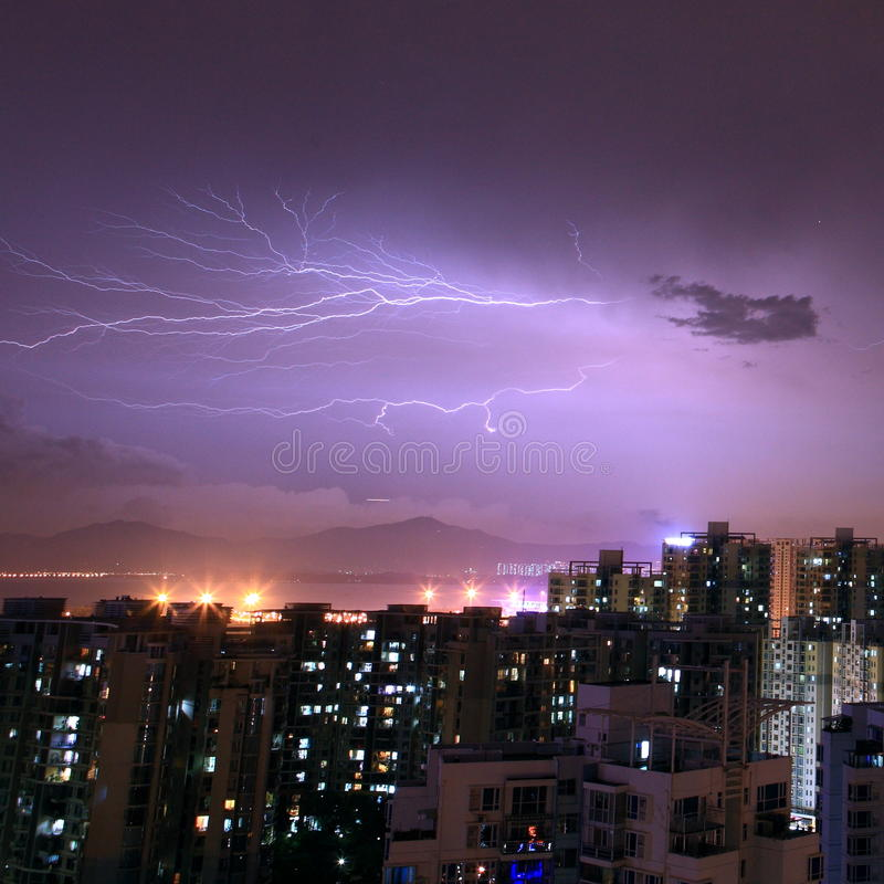 Download Thunder stock photo. Image of lighten, danger, dark, city - 24722470
