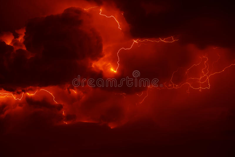 Thunder. Awesome thunderbolt in dark night sky royalty free stock images
