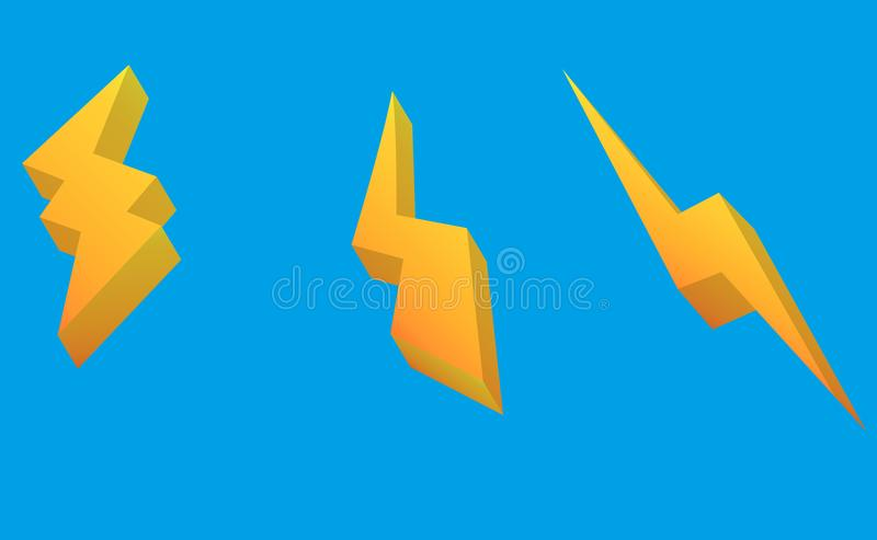 Thunder and Bolt Lighting Flash Icons Set. isometric Style on blue Background. Vector vector illustration