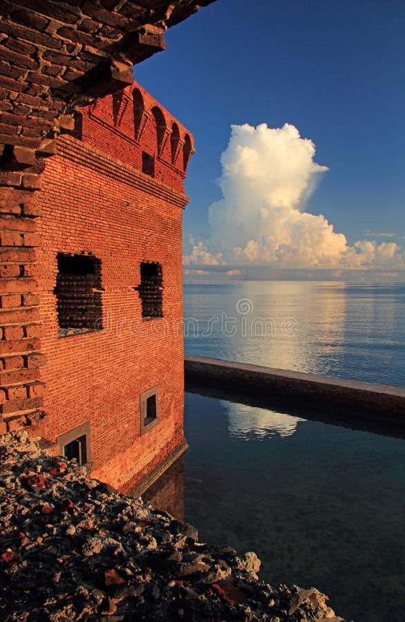 Thunder Clouds Form Over Dry Tortugas. Thunder clouds burst over Dry Tortugas National Park in the Florida Keys royalty free stock photography