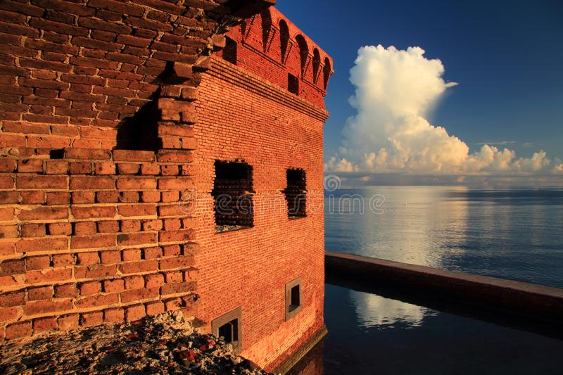 Thunder Clouds Form Over Dry Tortugas. Thunder clouds burst over Dry Tortugas National Park in the Florida Keys royalty free stock image