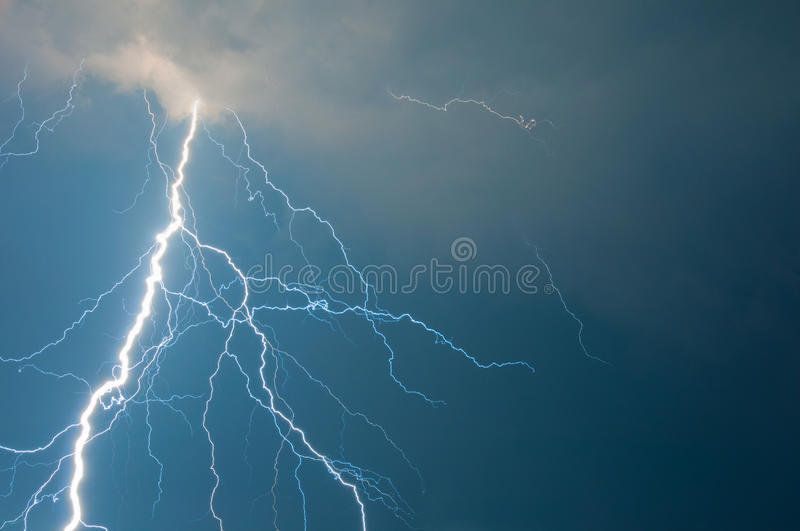 Thunder and lightning stock photo