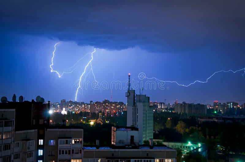 Download Thunder and Lightning stock photo. Image of blue, high - 31877198