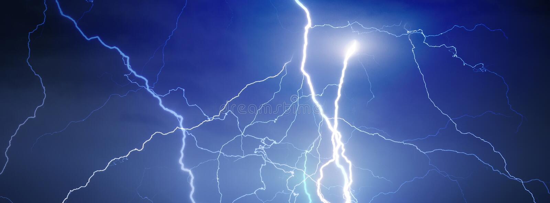 Thunder, lightnings and rain royalty free stock photography