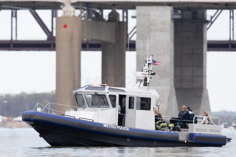 Thunder Over Louisville. Louisville, Kentucky, USA - April 13, 2019: Thunder Over Louisville, Louisville Metro police boat patroling the ohio river during the stock photo