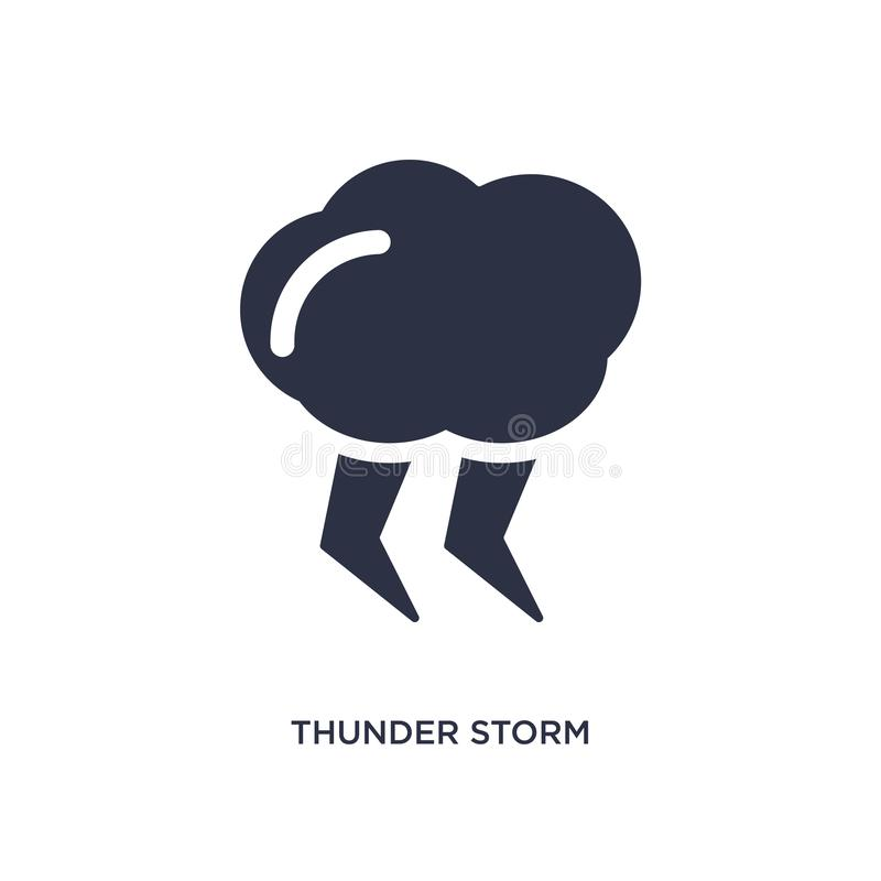 thunder storm icon on white background. Simple element illustration from meteorology concept vector illustration